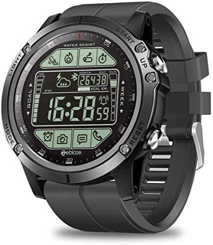JSL Reloj electrónico de deportes al aire libre con pronóstico del tiempo Cuenta de pasos kilometraje Análisis de ejercicio Recordatorio de llamada Bluetooth impermeable reloj militar naranja-negro