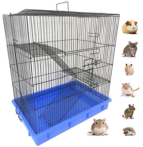 """3-Story Ferret Chinchilla Sugar Glider Rats Mice Hamster Animal Cage with Tight 3/8-Inch Wire Body Prevent Escape and Stuck Cross Metal Shelves and Ladders Paw Safe (22"""" L x 14.5"""" W x 23.5"""" H, Black)"""