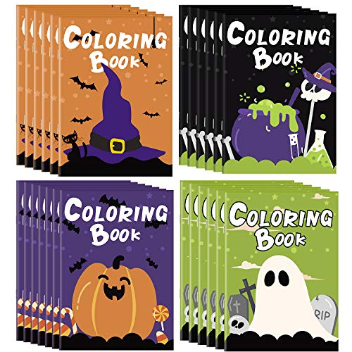 ELCOHO 24 Pieces Halloween Coloring Activity Books Halloween Treats for Treat or Treaters, Halloween Treats Prizes Non Candy Halloween Treat Replaceable