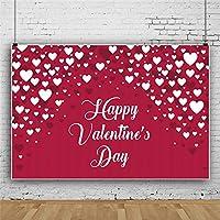Qinunipoto 写真撮影用 背景布 撮影用 背景 布 バレンタインの背景 赤の背景 ホワイトハート 幸せなバレンタインデー 写真背景布 撮影 小道具 装饰布 人物撮影 写真背景 ポリエステル 洗濯可 2.5x1.5m