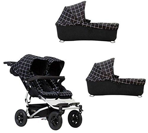 Ausstellungsstück Mountain Buggy duet buggy V3 als Doppelsitz-Buggy + 2 Babyschalen - grid