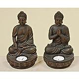 Portavelas con diseño de Buda (2 Unidades, 19 cm)