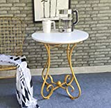YWXCJ Tavolini da caffè Esquina Lateral de la Mesa Mesa de Centro Europea de Hierro Forjado Sofá Lateral Ocio Balcón Pequeña Mesa de Centro Mesa Auxiliar de Dormitorio tavolini di piccole dimensioni