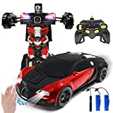 Jeestam RC Robot Car for Kids Transform Car Toy, Deformation Remote Control Vehicle with Gesture Sensing One Button Transformation 360°Rotating Drifting 1:14 Scale, Best Gift for Boys and Girls (Red)
