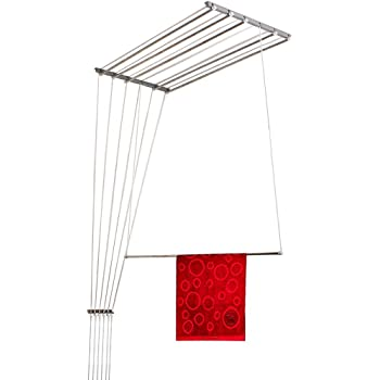 WUDORE Stainless Steel Rust Proof Ceiling Clothes Hanger Roof Mount Cloth Dryer with Individual Dropdown Railers (6 Pipes) (6 Feet)