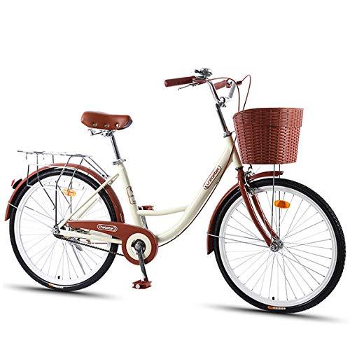 LFANH Damas Bicicleta Urbana, Bicicleta Retro Clásico Bicicleta Híbrida Trekking Ciudad De Cercanías Señoras De Bicicletas con La Cesta De Bicicletas 20/24/26 Pulgada (Unisex),Beige,24