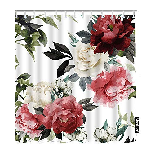 Moslion Shower Curtain Peony 72Wx72H Inch Rose Watercolor Floral Leaves Nature Valentine Romantic Blossom Spring FunnyShowerCurtain for Bathroom Decoration Polyester