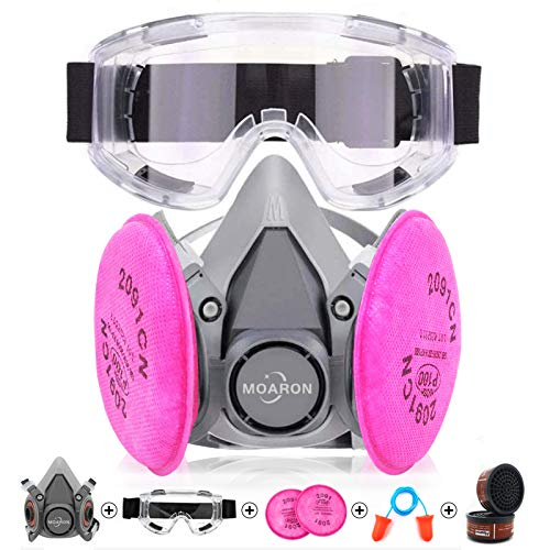 Reusable Half Facepiece Respirаtor Respirаtor 6200 with 2091 Р100 Filter Cottons Half Face Cover with Goggle Professional Organic Steam Widely Used in Organic Gas Painting Decorating