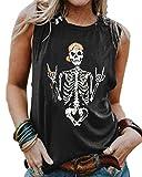 BRUBOBO Womens Funny Skull Graphic Tank Tops Summer High Neck Sleeveless Workout Tee Shirts (Small,Black)