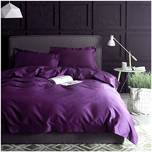 Solid Color Egyptian Cotton Duvet Cover Luxury Bedding Set High Thread Count Long Staple Sateen Weave Silky Soft Breathable Pima Quality Bed Linen (Queen, Vibrant Violet)