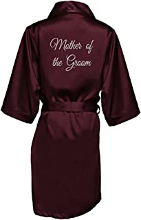 Women's Embroidered Bride, Bridesmaid, Maid of Honor, Mother of The Bride and Groom Wedding Satin Robe