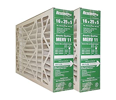"""GeneralAire # 4541 MERV 11 for # GF 4511 ReservePro 16x25x5 furnace filter, Actual Size:15 5/8"""" x 24 3/16"""" x 4 15/16"""" Case of 2 Filters- MEASURE CAREFULLY BEFORE ORDERING !"""