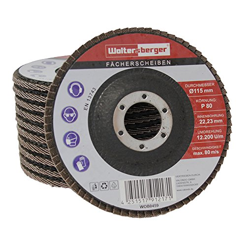 Woltersberger® Fächerscheiben | Ø 125mm | Korn 60 | 10 Stück | Braun für Metall & Holz Winkelschleifer Schleifmop Lamellenscheiben Schleifscheiben