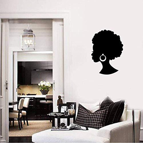 Muurtattoo Afrika meisjes mooie dames zwart schoonheidssalon oorbellen haaraccessoires wanddecoratie modern slaapkamer vinyl wandsticker 42 x 30 cm