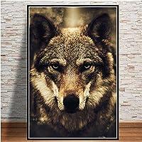 キャンバス絵画絵画動物のポスターと壁にプリントリビングルームのオオカミ現代の家の装飾プリントインテリア60x80cmフレームレス