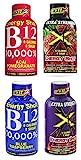 Set of 4 B12 Energy Shots - 2fl oz per Bottle! - Features 4 Flavors Including Blue Raspberry, Acai Pomengranate, Grape Xtra Strength, and Strawberry Xtra Strength!
