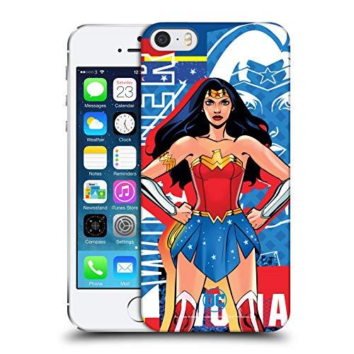 Head Case Designs Ufficiale DC Women Core Wonder Woman Composizioni Cover Dura per Parte Posteriore Compatibile con Apple iPhone 5 / iPhone 5s / iPhone SE 2016