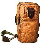 Sac à main en cuir pour la poitrine, sac à bandoulière, sac de randonnée pour homme d'affaires - Marron -