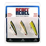 Rebel Lures Pop-R Topwater Popper Fishing Lure, Triple Threat 3 Pack, Pop-R (1/4 oz), One Size