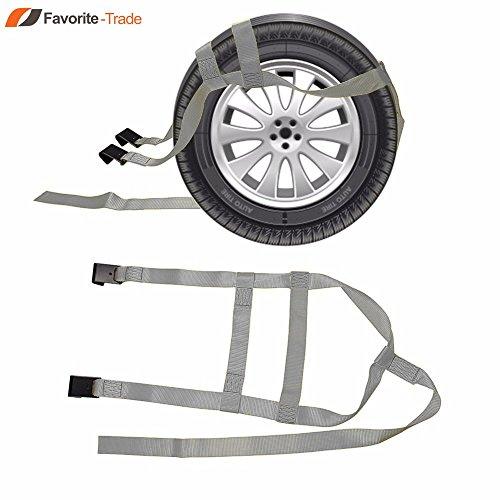 2x DEMCO Car Basket Straps Adjustable Tow Dolly Wheel Net Tire Flat Hook G