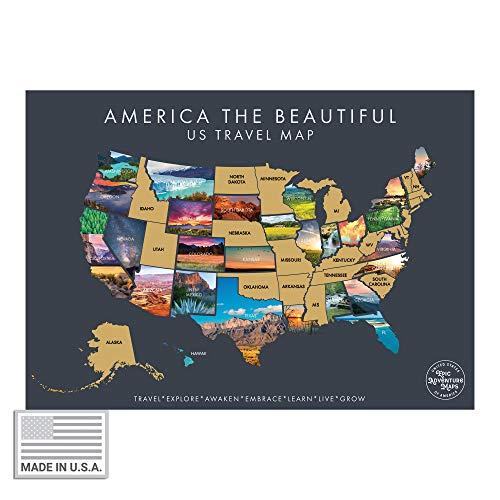 America The Beautiful USA Scratch Off Map- Interactive Travel Scratch Off Poster Reveals Beautiful...