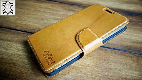 Urcover Akira Hand Made [Echt Leder] Handyhülle kompatibel mit Sony Xperia Z1 Compact Cover Handgemacht Case Schutzhülle Etui Flip Wallet Pen Dunkel Braun