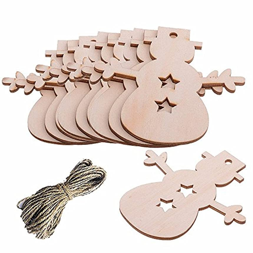 Pack of 10 Christmas Wooden Snowman Blank Wood Gift Tags Crafts Wood Slices with Holes Cutouts for Kids Crafts Christmas Tree Decoration