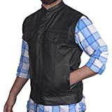 Men's SOA Motorcycle Genuine Cowhide Leather Club Style Vest with Concealed Gun Pockets New (Small)