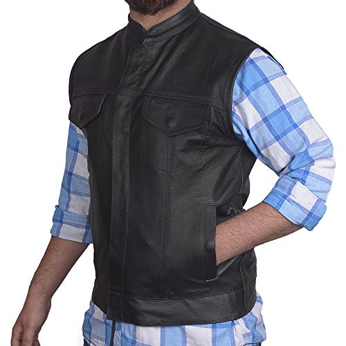 Men's SOA Motorcycle Genuine Cowhide Leather Club Style Vest with Concealed Gun Pockets New (4XL)