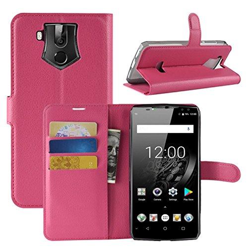 HualuBro OUKITEL K10 Hülle, Premium PU Leder Leather Wallet HandyHülle Tasche Schutzhülle Flip Hülle Cover mit Karten Slot für Oukitel K10 Smartphone (Rose)