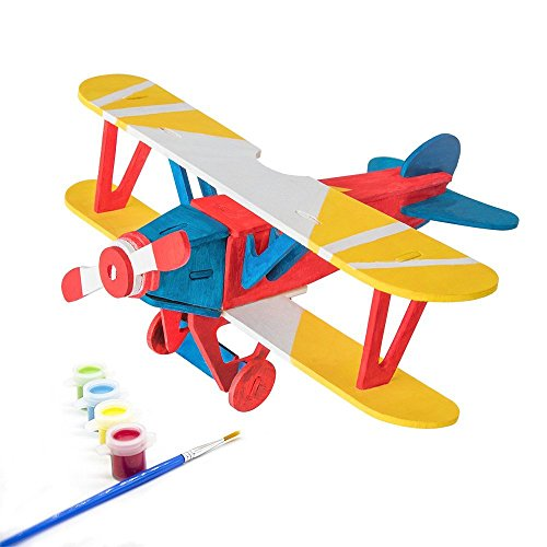3d Puzzle Arts Projects Craft Wood Airplanes 3d Puzzles for Kids Ages 6-8 &up Assemble Paint DIY Animal Crafts Model Kits the Best Birthday Gifts Biplane
