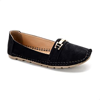 Grinta Faux Leather Perforated Contrasted Stitched Flat Shoes for Women