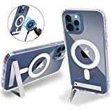 Chitri Two-Way Stand Magnetic Case, for iPhone 12 Pro Max 6.7 Inch Compatible with MagSafe Charger [with Metal Kickstand] Flexible TPU Transparent Hard PC Back Slim Shockproof Protective Cover (Clear)