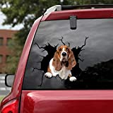 Ocean Gift Basset Hound Car Decals, Wall Decals Stickers Pack of 2 - Realistic Car Stickers Design Series 11 Size 10' x 10'