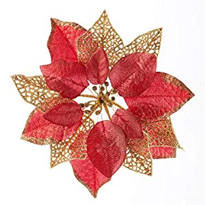 Christmas Tree Ornaments 12 Pcs Glitter Red Poinsettia,Artificial Poinsettia Flowers Xmas Tree Decorations