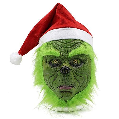D & M Grinch Maske Cartoon Santa Grüner Latex-volle Gesichts-Kopfbedeckungen Weihnachten Halloween Karneval Maskerade Nettes lustiges Kostüm Make-up-Maske - Universalgröße