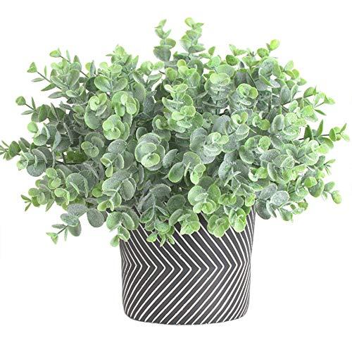 4 Paquetes de Plantas de Flocado de eucalipto Artificial, vegetación de plástico Falso, Hojas de Dinero, arbusto de Hierba para decoración de Exteriores de Oficina