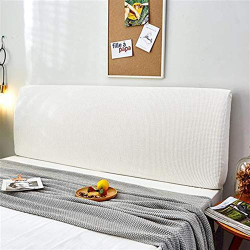 Headboard Cover Queen Size Dark Gray Bed Headboard Slipcover Protector with Stretch Dustproof Cotton Cover for Twin Full King Bed Head Covers,White-200~220CM