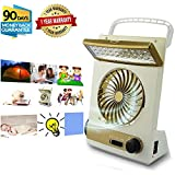 Portable Fan Solar Mini Fan LED Table Lamp 3 in 1 Multi-Function Eye-Care Flashlight Light for Home Camping Solar Cooling Fans (Gold)