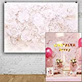 AOFOTO 7x5ft Elegant White Flowers Backdrop Valentines Day Photography Background Bridal Showers Girl Baby Adult Portrait Mother's Day Wedding Photo Shoot Studio Props Drop Seamless Vinyl Wallpaper