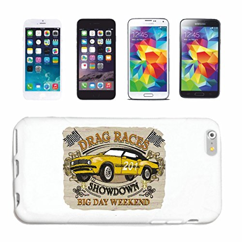 Hoes voor mobiele telefoon geschikt voor iPhone 5C Racing Drag Showdown BIG Day Weekend Hot Rod Car US Mucle Car V8 Route 66 USA
