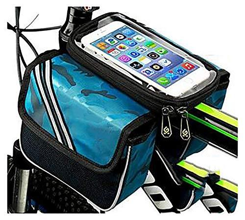5'Bolsa Bicicleta,Bolsa Bicicleta Impermeable Bolsa Movil Bici con Ventana para Pantalla Táctil,Bolsa para Cuadro Bicicleta Montaña para Smartphones de hasta 6-Alma azul 6 pulgadas 17x13x15cm