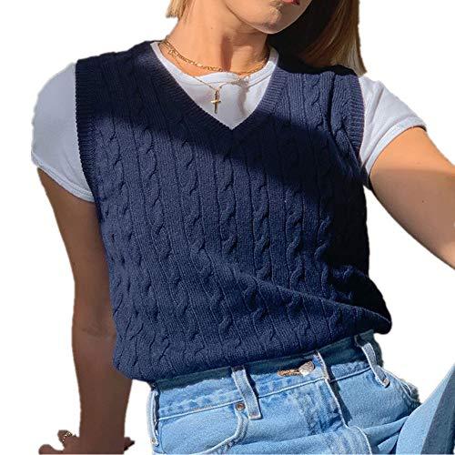 L & ieserram - Chaleco de punto para mujer, cuello en V, a cuadros, sin mangas, estilo Argyle a cuadros C trenzado azul M