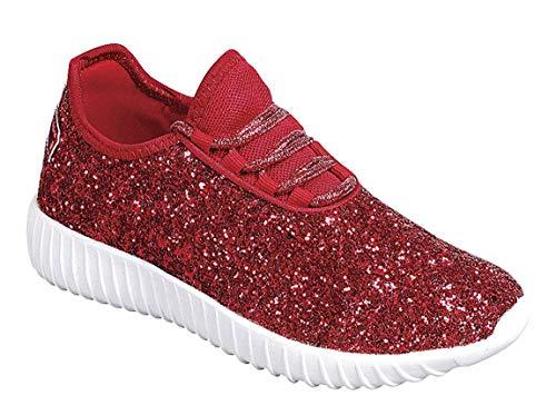 Link Lace up Rock Glitter Fashion Sneaker for Children/Girl/Kids (3 M US Little Kid, Red)