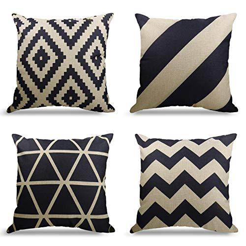 4er Set Dekorativ Kissenbezug Geometrische Muster, Sofa Büro Dekor Kissenhülle aus Baumwoll und Leinen (Geometrische Muster, 45X45cm)