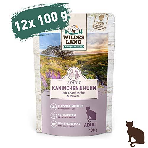 Wildes Land | Nassfutter für Katzen | Nr. 4 Kaninchen & Huhn | 12 x 100 g | Getreidefrei | Extra viel Fleisch | Beste Akzeptanz und Verträglichkeit