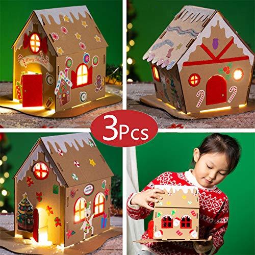 BangShou 3Pcs Navidad Cabaña 3D Decoración Navideña DIY de Navidad Casa de Navidad