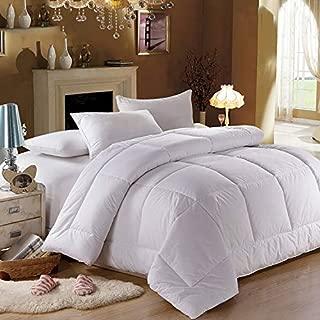 KORLLIN All Season Down Alternative Comforter Duvet Insert - Hypoallergenic Reversible - Plush Microfiber Quilted Comforter (Queen, White)