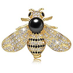 Black Honey Bee Brooch With Rhinestone