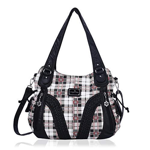 Angelkiss Women Top Handle Satchel Handbags Shoulder Bag Messenger Tote Washed Leather Purses Bag … (Black lattice)